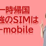一時帰国時の携帯は格安SIMはT-mobileが最強説!